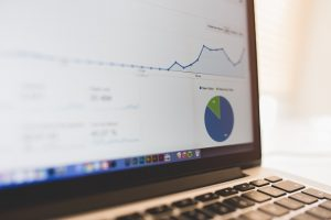 Laptop computer displaying analytics data